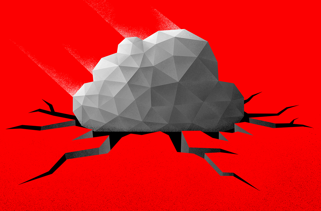 depiction of cloud on cracked ground