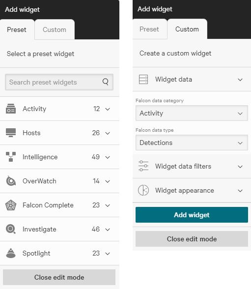 intel widget creation