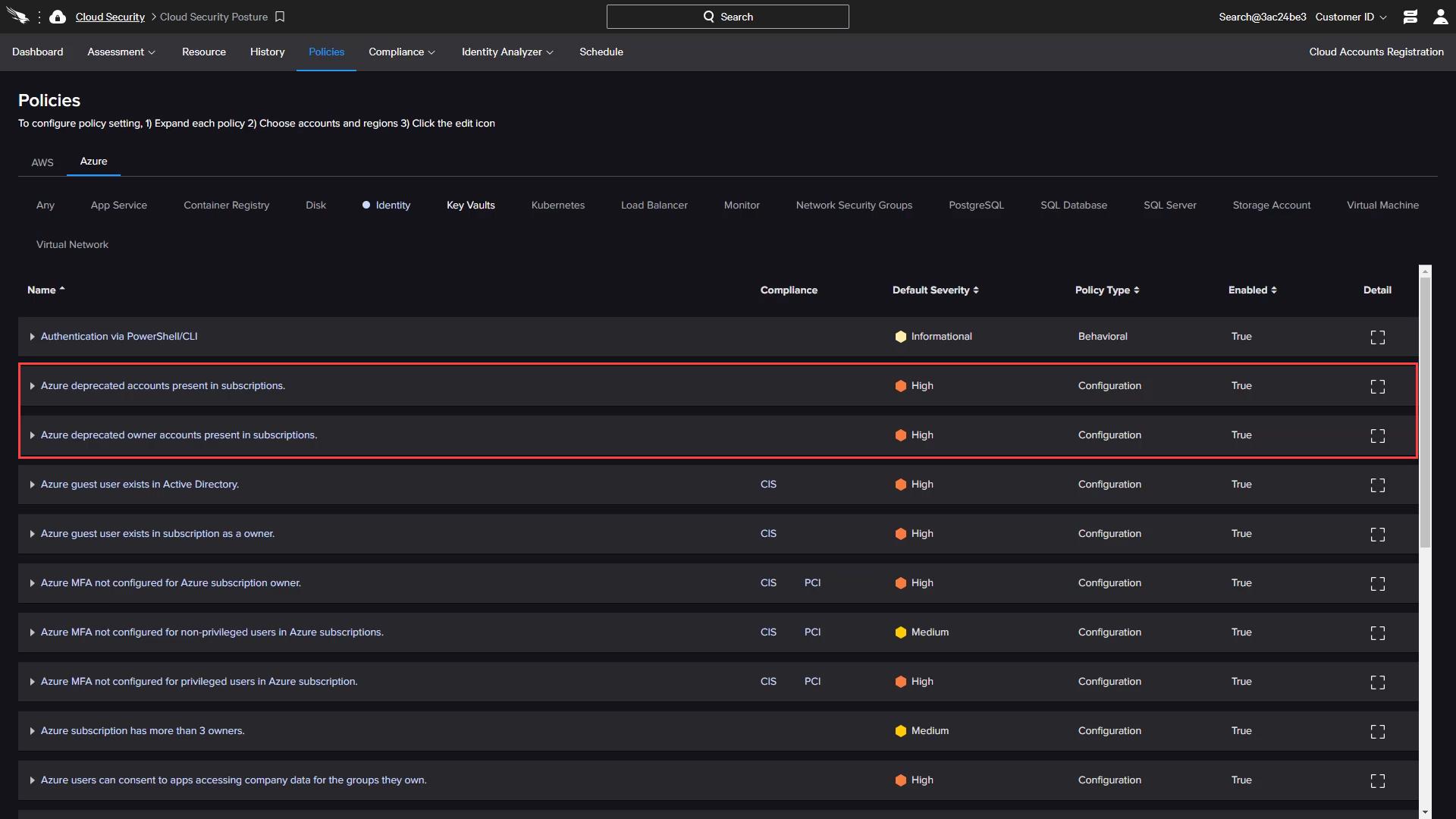 CSPM Azure Identity Deprecated Accounts