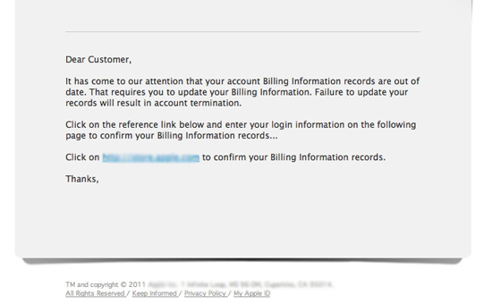 an example of a phishing email from cba