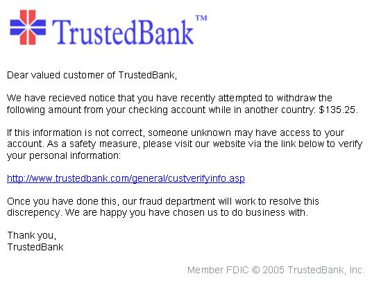 trustedbank phishing example